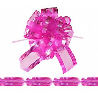 Holographic Ivory Decorative Gift Chair-Car Pull Bow 1.75m x 5cm Pack Of 20 - Hot Pink/Cerise
