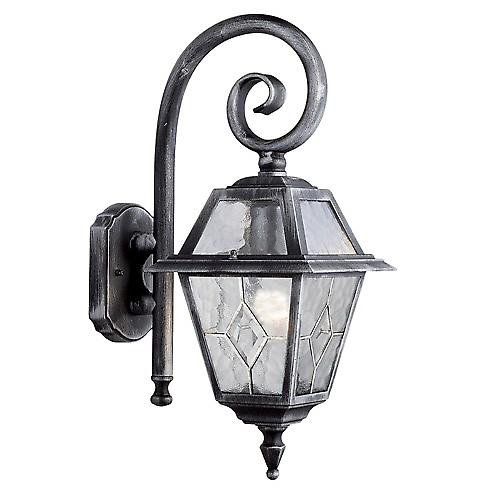 Searchlight 1515 Genoa IP23 Black & Silver Outdoor Wall Light With Lead Glass