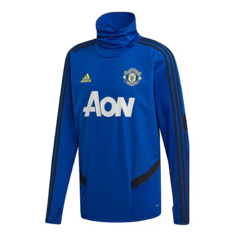 2019-2020 Man Utd Adidas Warm Top (bleu)