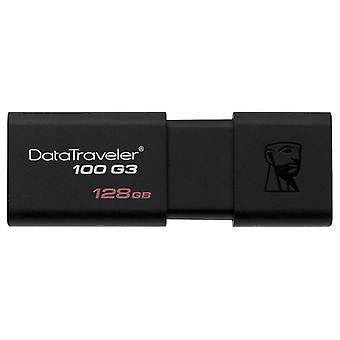 Kingston dt100g3 flash drive - usb flash drives, usb 3.0,  high speed, black - 128gb