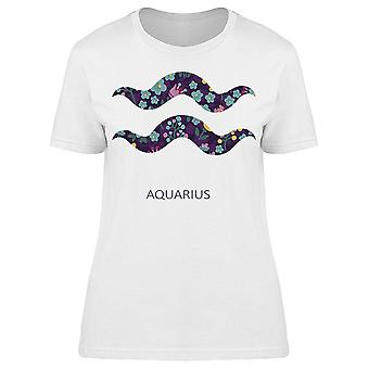 Zodiac Sign Aquarius Floral  Tee Women's -Image by Shutterstock