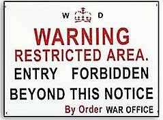 Warning Restricted Area War Office enamelled steel sign   (dp)