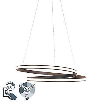 QAZQA Modern hanging lamp black 74cm incl. LED 3 steps dimmable - Rowan