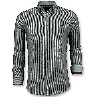 Business Overhemden Heren - Streepjes Blouse - 3030 - Blauw