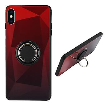 Back Cover Ring/aimant Aurora iPhone Xs Max rouge - Noir