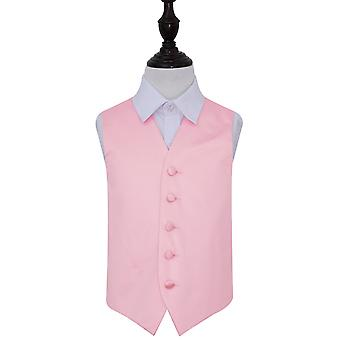 Boy's Baby Pink Plain Satin Wedding Waistcoat