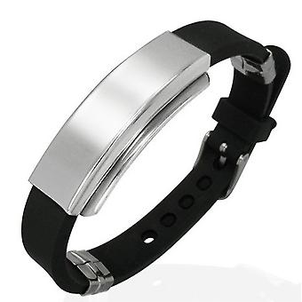 Urban Male Men's Black Rubber & Stainless Steel ID Plate Bracelet