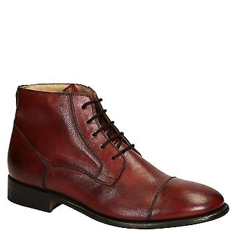 Burgundy horse leather plain cap toe men's dress boots