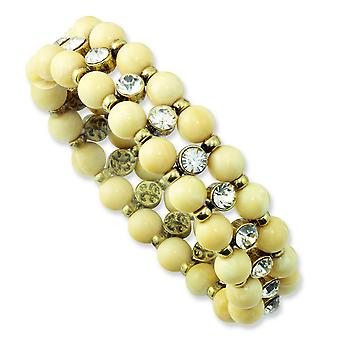 Brass-tone Cream Acrylic Beads and Clear Glass Stone Stretch Bracelet