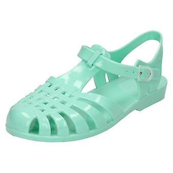 Ladies Spot On Buckled Jelly Sandals F0711