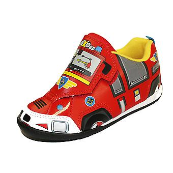 Boys Fireman Sam Cartoon Character Touch Panel Casual Trainer Shoe-62444
