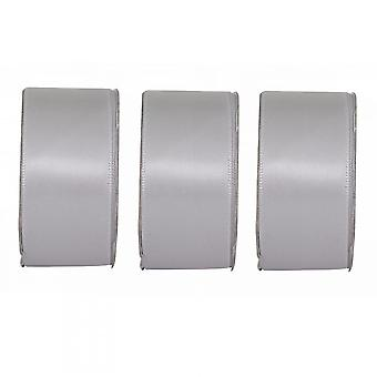 Anita's Soft Silver Wide Satin Ribbon 3 Pack Bundle