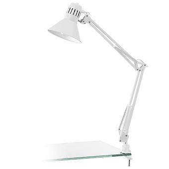 Eglo Firmo Modern Adjustable Clip On Desk Light White
