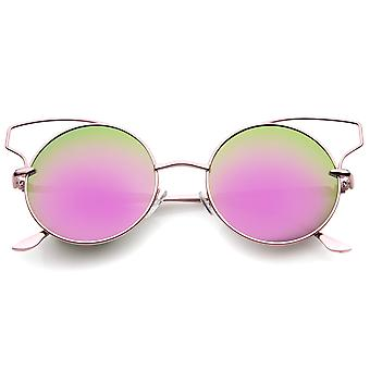 Women's Wire Open Metal Frame Color Mirror Lens Round Cat Eye Sunglasses 52mm