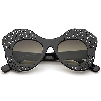 Women's Laser Cutout Frame Colored Mirror Lens Oversize Butterfly Sunglasses 49mm