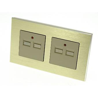 I LumoS Gold Brushed Aluminium 4 Slot 4.2A USB Double Socket Phone Charger