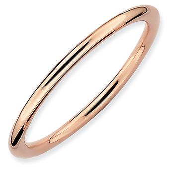 Sterling Silver Stackable Expressions Pink-plated Polished Ring - Ring Size: 5 to 10