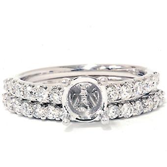 3 / 4ct eine halbe Ewigkeit Diamant Ring Set 14K White Gold