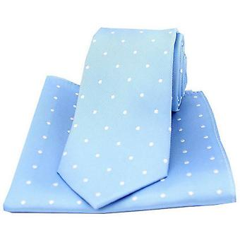 David Van Hagen Polka Dot Tie and Pocket Square Set - Sky Blue/White