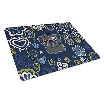 Carolines Treasures  BB5114LCB Blue Flowers Black Pug Glass Cutting Board Large