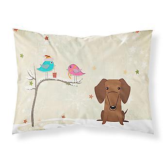 Weihnachtsgeschenke unter Freunden Dackel rot brauner Stoff Standard Pillowcas
