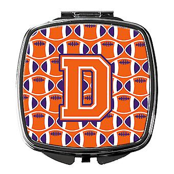 Letter D Football Orange, White and Regalia Compact Mirror