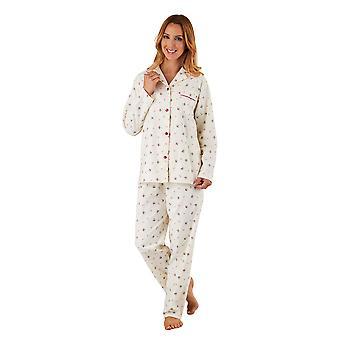 Slenderella PJ8213 Frauen Creme Floral gebürstete Baumwolle Pyjama Langarm-Pyjama-Set