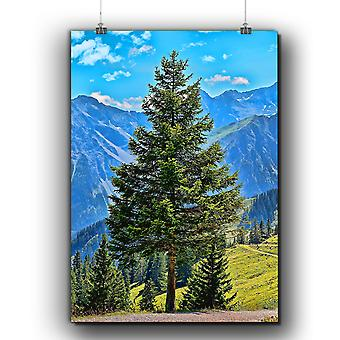 Matte or Glossy Poster with Tree Mountain Sky Nature | Wellcoda | *q263
