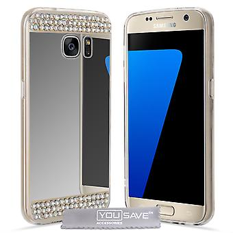 Yousave Accessories Samsung Galaxy S7 Mirror Diamond Case - Silver