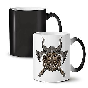 Northern Helmet Axe NEW Black Colour Changing Tea Coffee Ceramic Mug 11 oz | Wellcoda