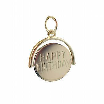 9ct Gold 15x16mm Happy Birthday runden drehenden Scheibe Anhänger oder Charm