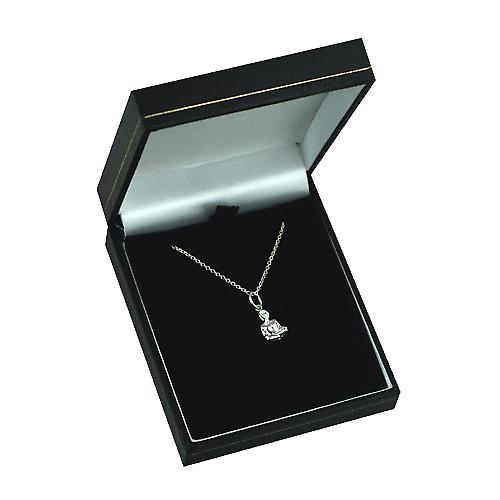 Silver 12x8mm Half Lotus Yoga Position Pendant with a rolo Chain 14 inches Only Suitable for Children