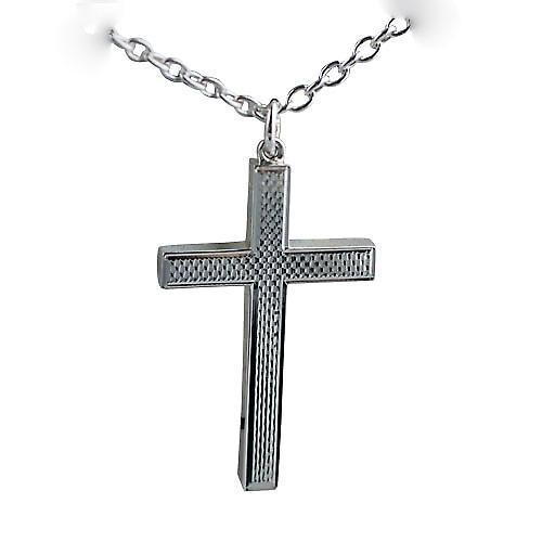 Silver 45x25mm plain block Crucifix with Cable link chain