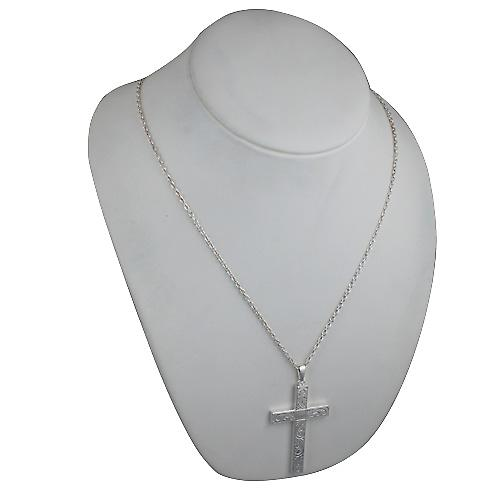 Silver 60x38mm hand engraved solid block Cross with bail on a cable Chain 24 inches