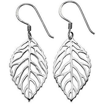 Beginnings Cut Out Leaf Drop Earrings - Silver