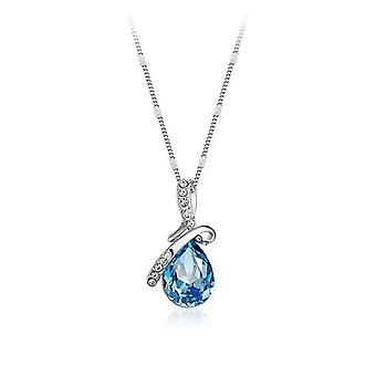 Sky BlueTeardrop Womens Pendant Necklace Crystal Stones Ribbon Jewellery