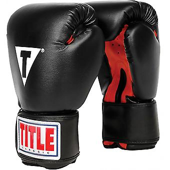 Title Boxing Classic Hook and Loop Vinyl Training Boxing Gloves - Black/Red