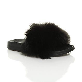 Ajvani womens flat fur feather comfy slip on flip flop sliders slipper sandals