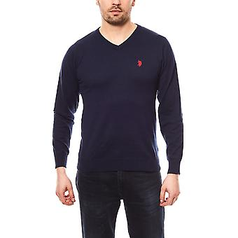 U.S. POLO ASSN. V-neck men's sweater Blau knit sweater