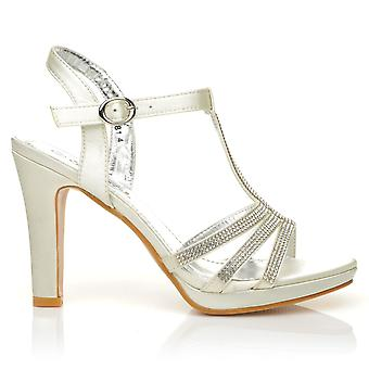 JADE Ivory Diamante Encrusted Satin High Heel Platform T-Bar Bridal Sandals