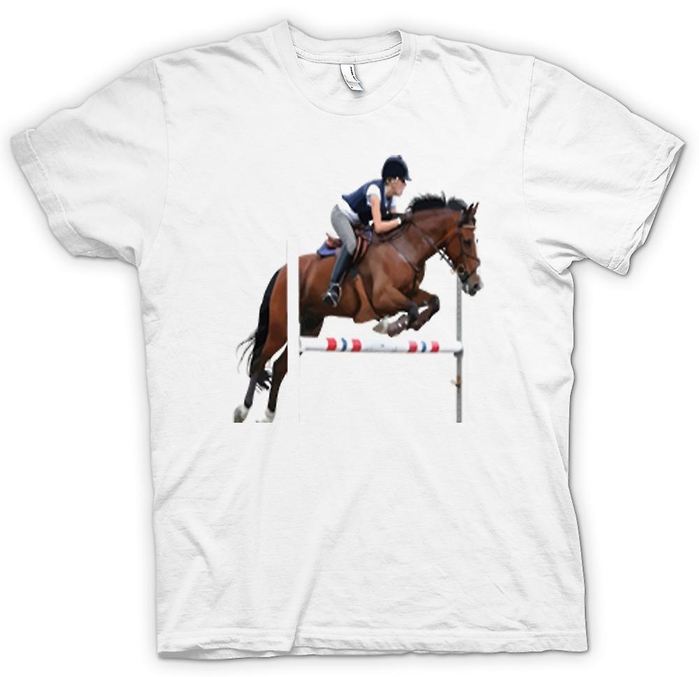 Womens T-shirt-Springreiten Pferd