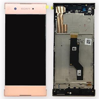 Sony display LCD complete unit with frame for Xperia XA1 and dual pink spare parts
