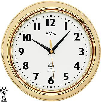 AMS 5964 wall clock radio radio controlled wall clock analog brass color golden round with glass