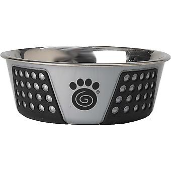 Petrageous Designs Stainless Steel Bowl - Holds 3.75 Cups-Gray/Black