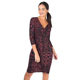 KRISP Snakeskin Print Cross Over Midi Dress