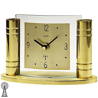 Desk clock radio clock table clock gold-colored metal body aluminum dial