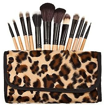 Leopard Pattern 12 Make Up Brushes Set - Nylon Hair Aluminium Ferrule Natural Wood Handle Leather Bag