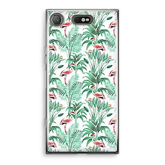 Sony Xperia XZ1 Compact Transparant Case - Flamingo leaves