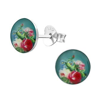 Rose - 925 Sterling Silver Colourful Ear Studs - W24455X