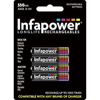 Infapower B009 Rechargeable AAA Ni-MH Batteries 550mAh